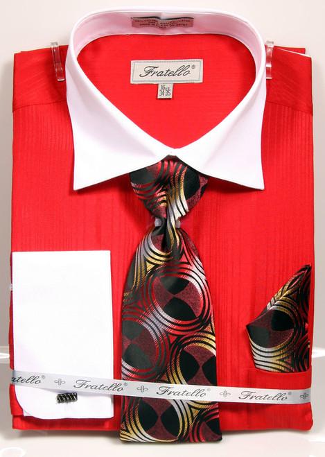 01. FRV4140: Designer Dress Shirt, Tie, Handekerchief, & Cufflink Set - 5 Colors Available