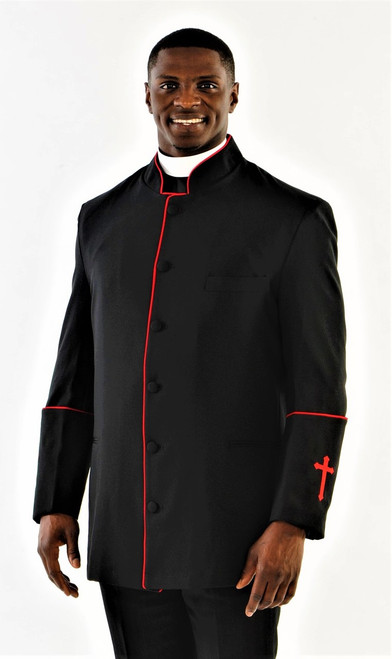 001. Men's Preacher Clergy Jacket in Black & Red