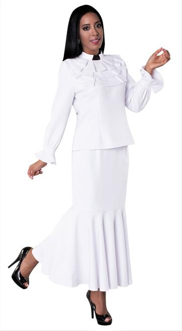 01. Ladies 2-Piece Preaching Skirt Set In White