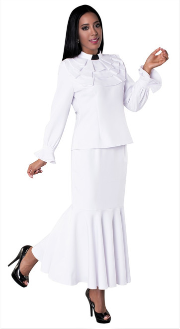 01. Ladies 2-Piece Preaching Skirt Set In White