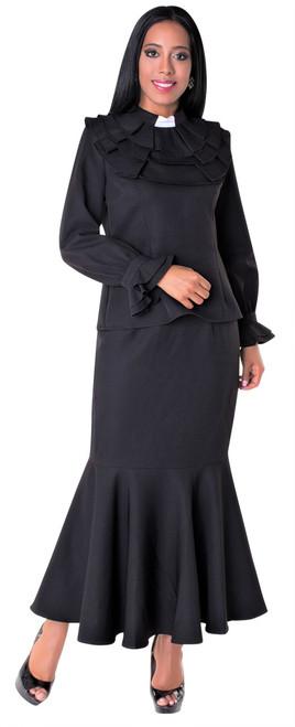 01. Ladies 2-Piece Preaching Skirt Set In Black