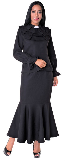 01. Ladies 2-Piece Preaching Skirt Set In Black