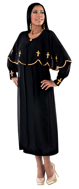 06. Ladies 3-Piece Preaching Dress With Detachable Cape In Black & Gold