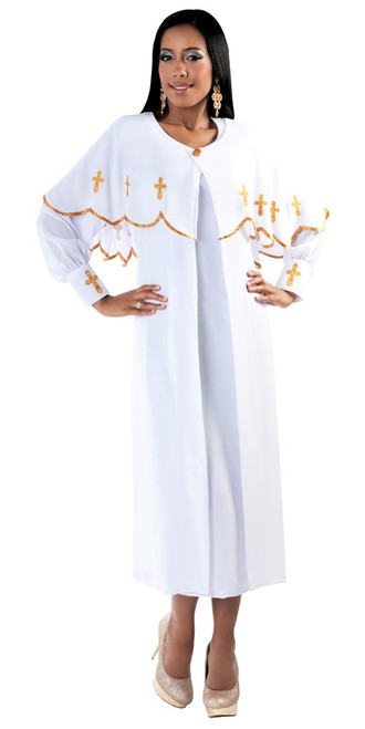 06. Ladies 3-Piece Preaching Dress With Detachable Cape In White & Gold