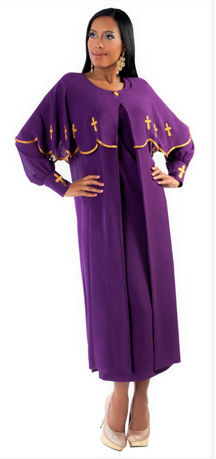 06. Ladies 3-Piece Preaching Dress With Detachable Cape In Purple & Gold