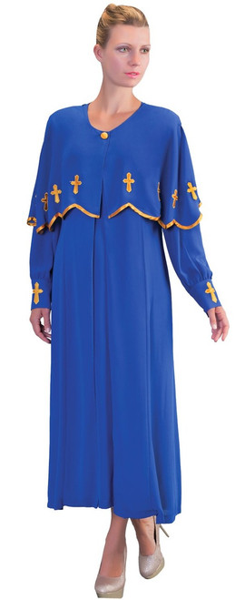 06. Ladies 3-Piece Preaching Dress With Detachable Cape In Royal & Gold
