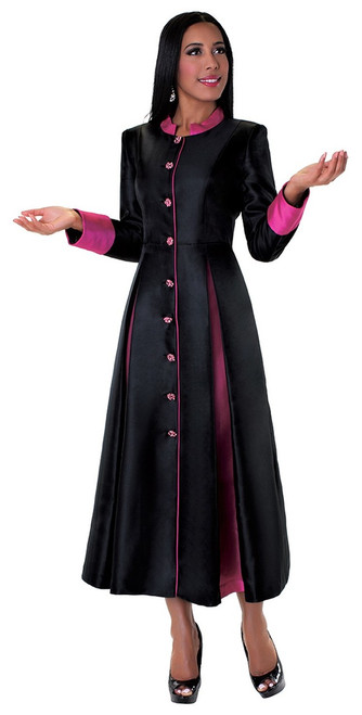 03. Ladies 1-Piece Preaching Robe Dress In Black & Fuschia