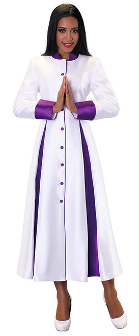 03. Ladies 1-Piece Preaching Robe Dress In White & Purple