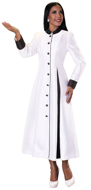 03. Ladies 1-Piece Preaching Robe Dress In White & Black