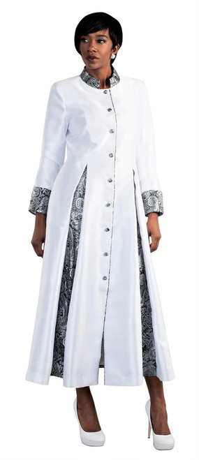 04. Ladies 1-Piece Preaching Robe Dress In White & Silver