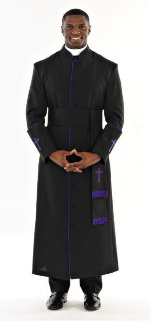 005. Men's Preacher Clergy Robe & Cincture Set in Black & Purple