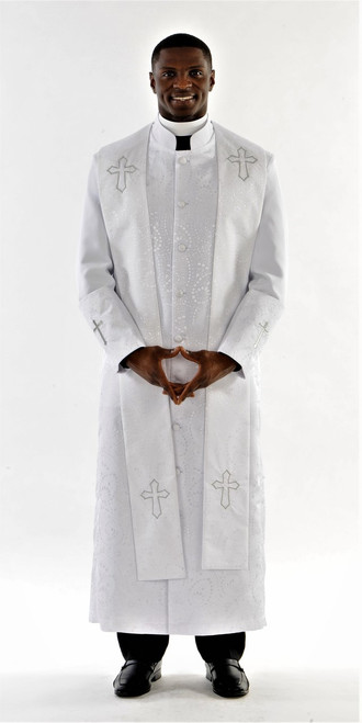 004.  Gershon Clergy Robe & Stole For Men In White