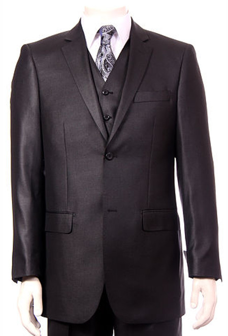 3-Piece Solid Sheen Suit In Black