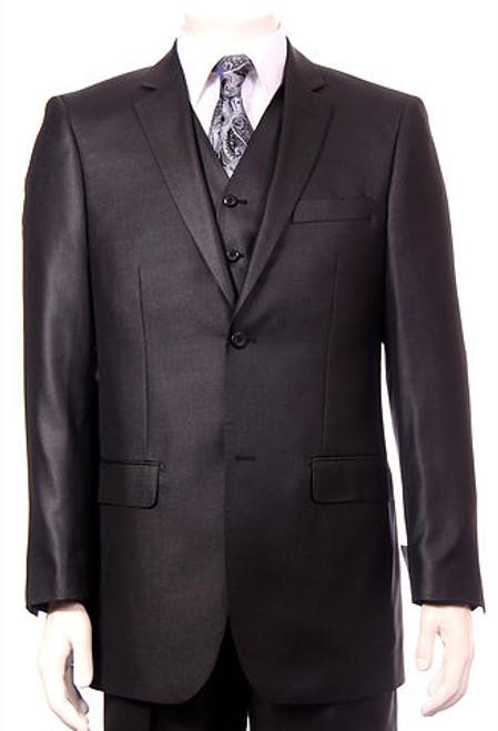 3-Piece Solid Sheen Suit In Black