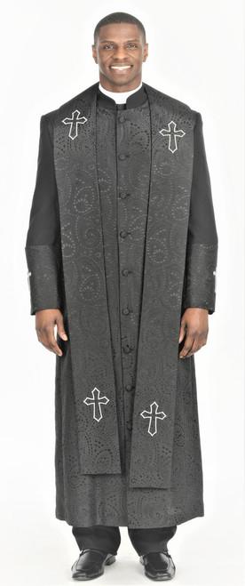 004.  Gershon Clergy Robe & Stole Set In Black