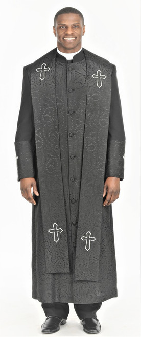 004.  Gershon Clergy Robe & Stole Set In Black