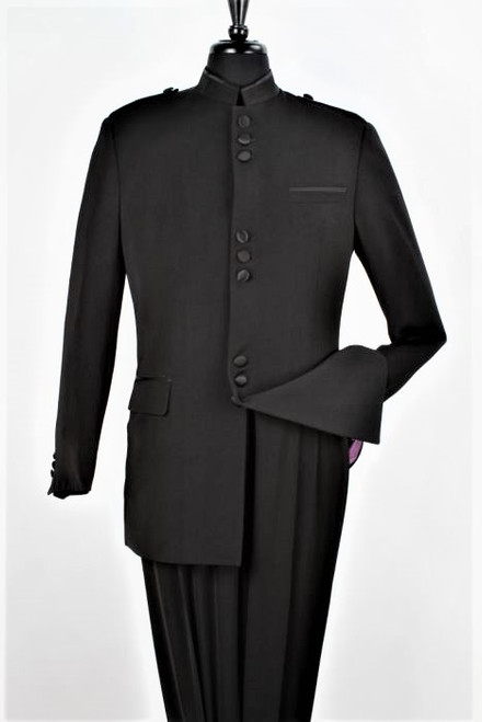 Black 9-Button Banded Collar Clerical Suit