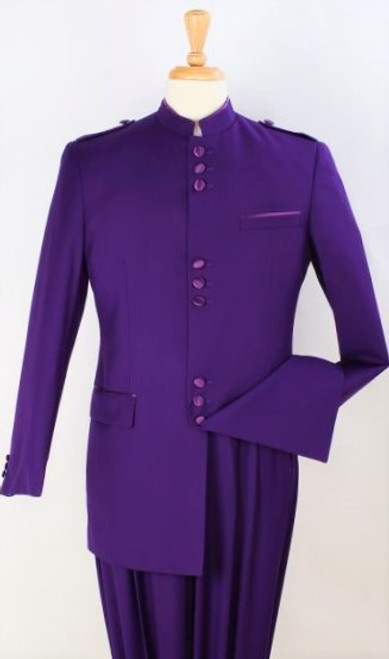 Sample Sale: (1) Size 46L - 9-Button Banded Collar Clerical Suit In Purple