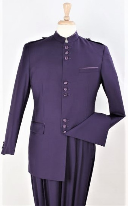 9-Button Banded Collar Clerical Suit In Navy