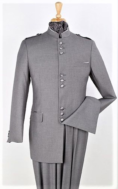 9-Button Banded Collar Clerical Suit In Gray