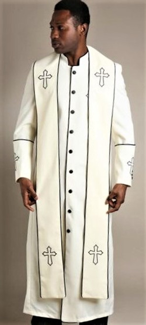 004.  Men's Trinity Clergy Robe & Stole Set In Cream & Black