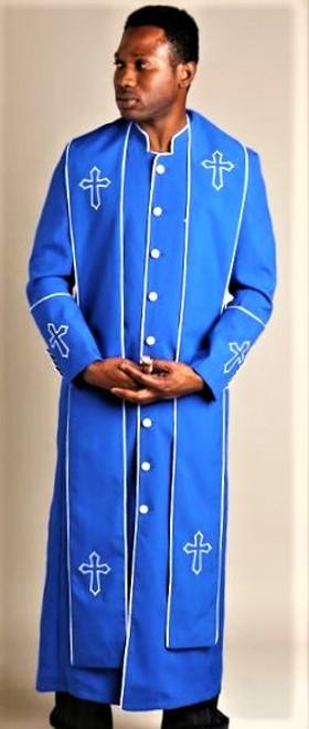 004.  Men's Trinity Clergy Robe & Stole Set In Royal & White