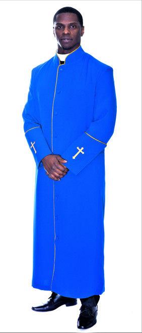 001. Men's Preacher Clergy Robe in Royal & Gold