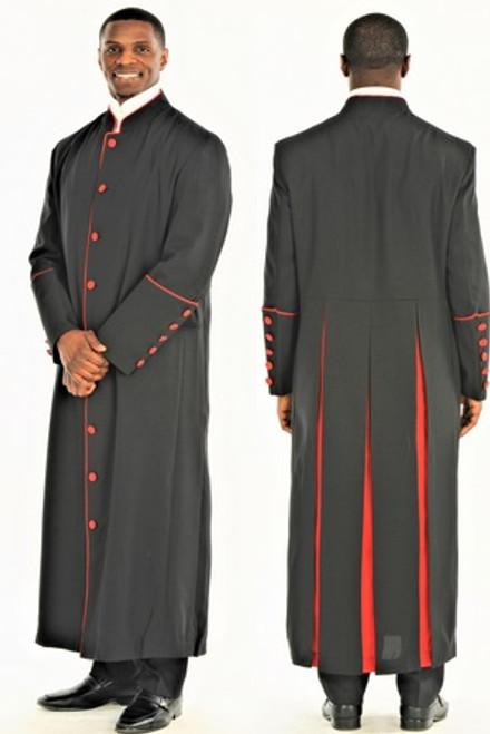 001. Men's Adam Clergy Robe in Black & Red