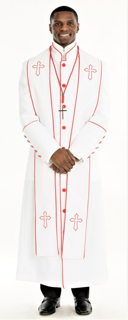 004. Men's Adam Clergy Robe & Stole in White & Red