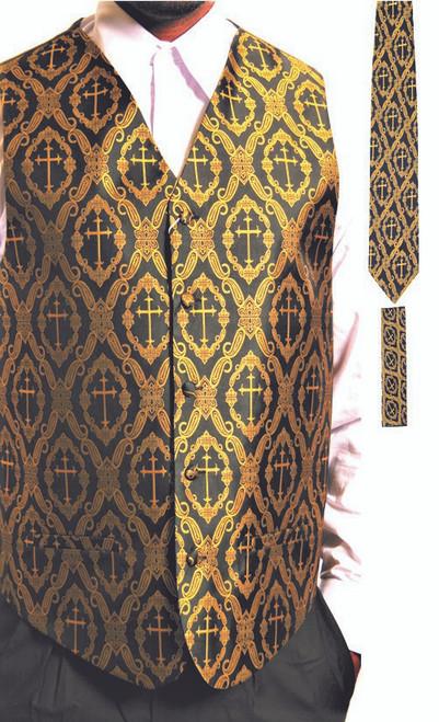 Clergy Cross Vest Set In Black & Gold