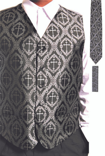 Clergy Cross Vest Set In Black & Silver