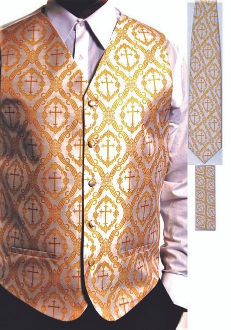 Clergy Cross Vest Set In White & Gold