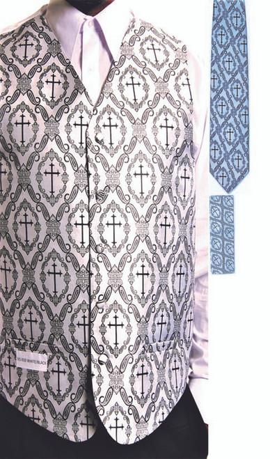 Clergy Cross Vest Set In White & Black