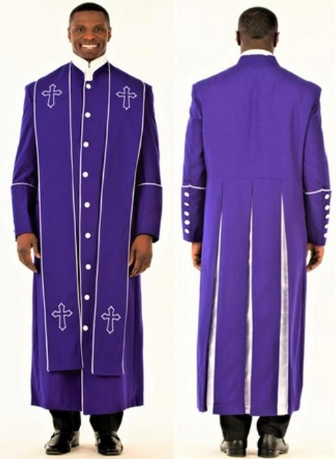 006. Men's Adam Clergy Robe & Stole in Purple & White