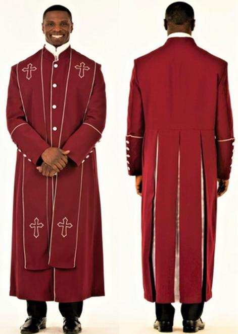 006. Men's Adam Clergy Robe & Stole in Burgundy & Silver
