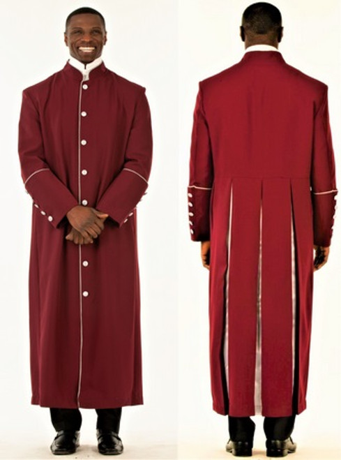 006. Men's Adam Clergy Robe in Burgundy & Silver