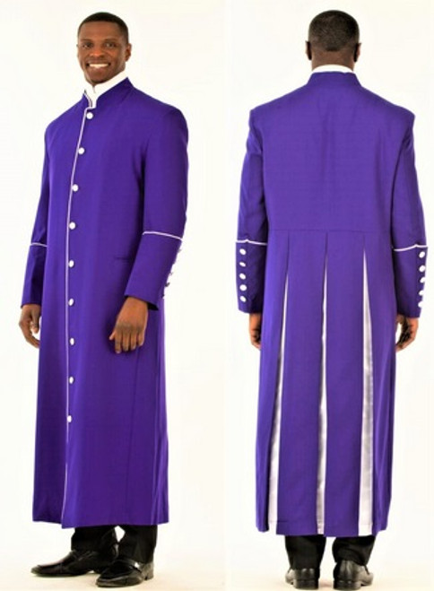 006. Men's Adam Clergy Robe in Purple & White