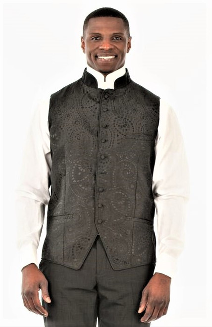 BLOWOUT: Gershon Clergy Vest in Black & Silver