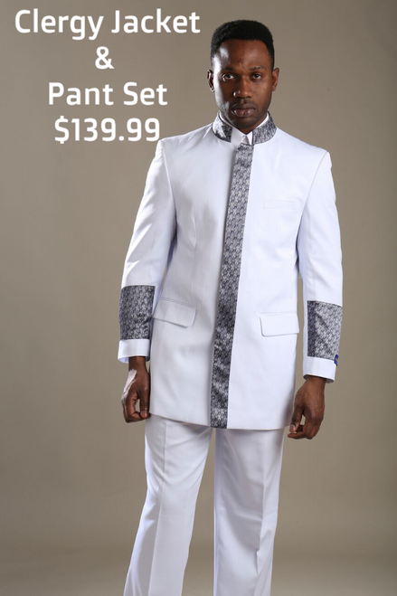 01. The Joseph Preaching Suit In White & Silver