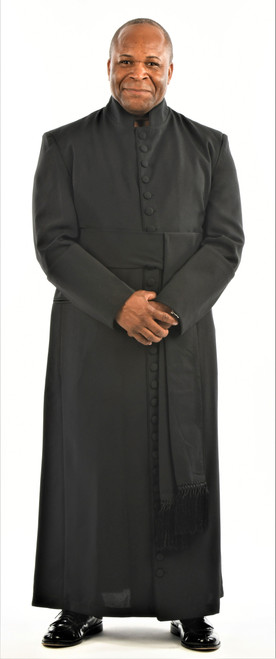 005. Men's 27-Button Roman Cassock & Cincture Set In Black