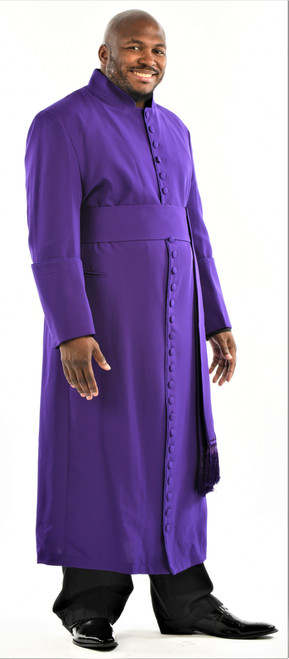 005. Men's 27-Button Roman Cassock & Cincture Set In Purple