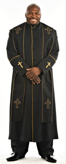 CLEARANCE: 004. Men's Preacher Clergy Robe & Stole in Black & Gold