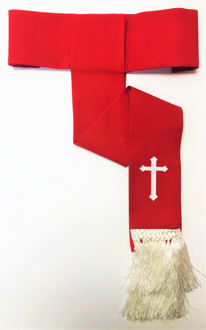 Clearance: Preacher Cincture Belt In Red & White