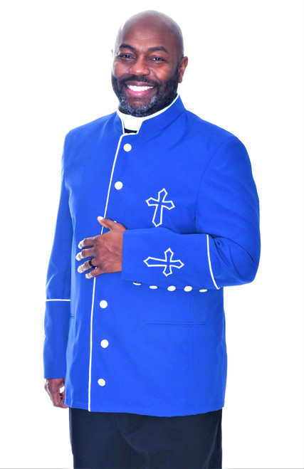 003. Trinity Clergy Jacket For Men In Royal & White