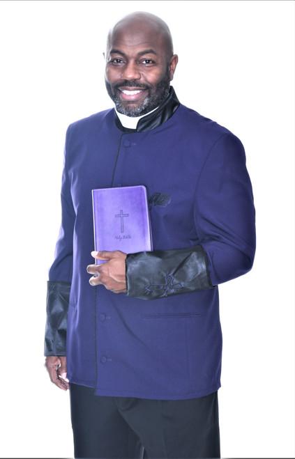 002. Men's Asbury Clergy Jacket In Purple & Black