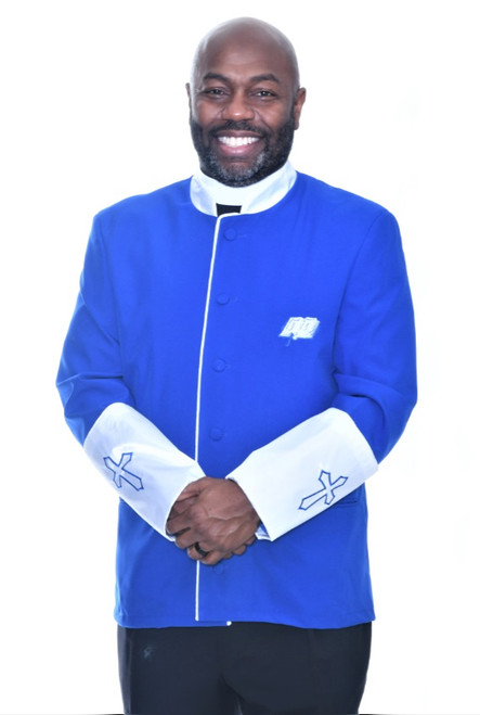 002. Men's Asbury Clergy Jacket In Royal & White -