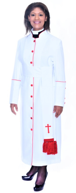 001. Rachel Clergy Robe & Cincture Set For Ladies In White & Red