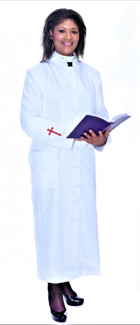 001. Gershon Clergy Robe For Ladies In White & Red