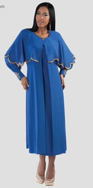 06. Ladies 3-Piece Designer Preaching Dress With Detachable Cape In Royal & Gold
