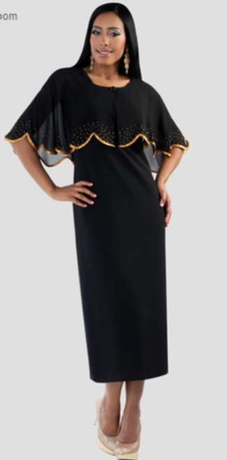 06. Ladies 3-Piece Designer Preaching Dress With Detachable Cape In Black & Gold